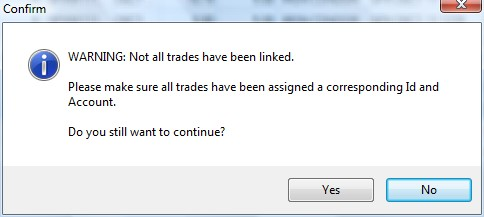 Not all trades in the imput file are linked