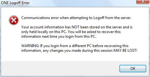 Error in Logging Out